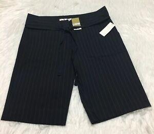 Old Navy Shorts Dressy Self Belt Black White Stripes Low Waist Women 10 NWT