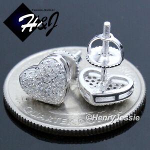 WOMEN 925 STERLING SILVER GEMSTONE HEART SHAPE SCREW BACK STUD EARRING*E121