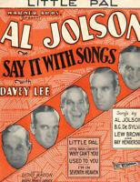 Say it with Songs Vintage Sheet Music Al Jolson Davey Lee Warner Bros. 1929