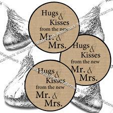 ❤ 216 Prim Country Burlap Vintage Wedding Hershey Kiss Stickers Favors DIY