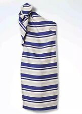 NWT Banana Republic One-Shoulder Bow Cobalt Stripe Dress Sz 4