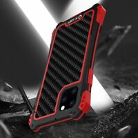 For iPhone 11 Pro XS Max Genuine R-JUST Waterproof Metal Carbon Fiber Case Cover