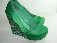 WOMENS GREEN RHINESTONE WEDGE WEDDING PUMPS EVENING HEELS SHOES SIZE 5.5 M