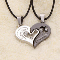 Pair Silver Couple Heart Love Girlfriend Pendant Necklace Chain,Gift