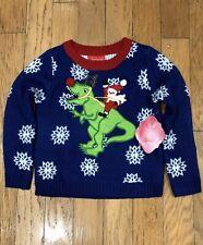 Boys Size 4 Dinosaur T-Rex Ugly Christmas Sweater NEW NWT