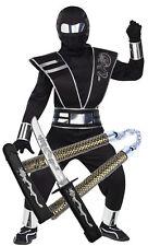 Boys Kids Mirror Ninja Silver Black Samurai Fancy Dress Costume Karate Toys 12-14 Years