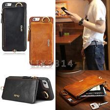 BRG Portable Leather Card Wallet Zipper Bag Belt Hook Buckle Case For iPhone 6 7