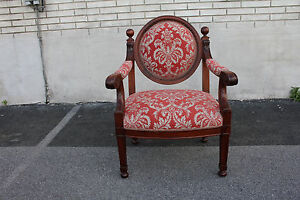 Lovely 19th Century French Empire Side Desk Chair with New Upholstery