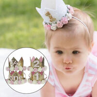 Baby Girls Boys Flower Crown 1st Birthday Party Hat Headband Hairband Headwear