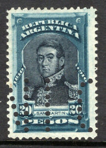 Argentina 1910 used #175 (punch cancel) 20 peso deep blue and black, cv $15