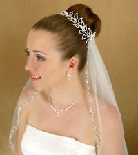 White or Ivory Heavily Beaded Pearl Austrian Crystal Edge Fingertip Bridal Veil