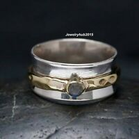 Labradorite Solid 925 Sterling Silver Ring Spinner Ring Handmade Ring All Size.