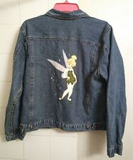 Disney Tinkerbell Denim Jean Jacket large women's Embroidered Coat #