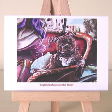 English Staffordshire Bull Terrier John Constable painting style Staffy ACEO
