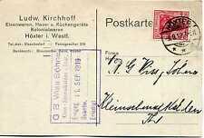 Karte Deutsches Reich 1919 Ludw. Kirchhoff Höxter W n Kleinschmalkalden.Th KA101