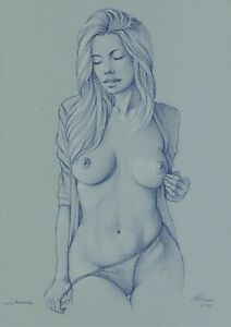 original drawing A3 42MS art by samovar sketch pastel woman Signed 2020