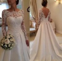 2017 New Lace Tulle White/ivory Wedding dress Bridal Stock size: 6-8-10-12-14-16