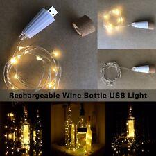 UK LED Bottle Cork Shaped Rechargeable Wine Bottle USB Light Party Wedding Decor