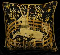 CAPTIVE UNICORN Piped SCATTER CUSHION Cover Medieval Tapestry Design 42cm sq