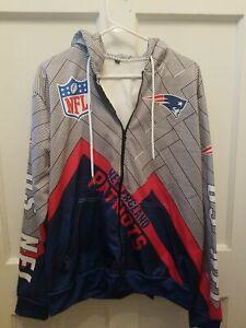 Men's New England Patriots NFL Hooded Sweatshirt Zips Size XL