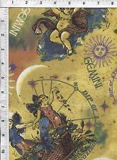 "Fabri Quilt Horoscope New Dawn Gemini sign 100% cotton 43"" Fabric by the yard"