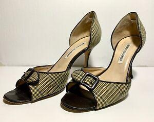 Manolo Blahnik Glen Plaid d'Orsay Peep-toe Pump Size 37 US 7 Brown Ivory Textile