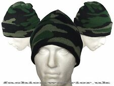 New Mens Winter Camo Knitted Thick Beanie Gift Camouflage Warm Fold Up Hat 2017