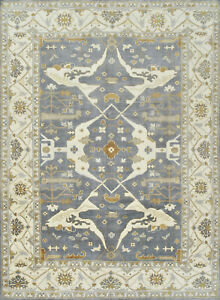 Oushak 10'x14' Blue Wool Hand-Knotted Oriental Rug
