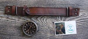 LEATHER WATCH STRAP B-UHR FLIEGER,WW II LUFTWAFFE M-PILOT 24 MM HAND MADE.