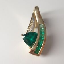 10K Yellow Gold Pendant with Diamonds and Simulated Emerald