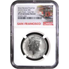 2018-S U.S. Silver Reverse Proof Set Kennedy Half Dollar NGC PF69 Light Finish E
