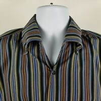 Equilibrio Italia Mens Multi Color Striped L/S Casual Dress Button Shirt Large L