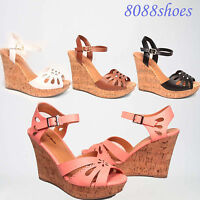 Women's Summer Fashion Buckle Open Toe Wedge Platform Sandal Shoes Size 5 - 10
