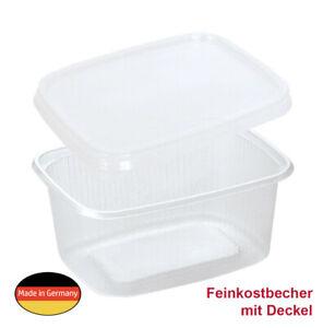 250 Feinkostbecher Verpackungsbecher Salatbecher 250ml eckig mit klarem Deckel