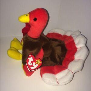 Retired Ty Beanie Baby, GOBBLES the Turkey, Nov 27, 1996, ERRORS Style 4034 PVC