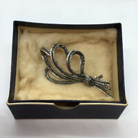 Womens Marcasite Silver Tone Ribbon Brooch Pin Number On Back Costume Jewellery