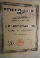 ACTION 2500F COMPAGNIE GENERALE ELECTRIQUE NANCY @ SUP DECO BLEU @
