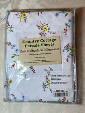 Orvis Country Cottage Percale Standard Pillowcase Set 100% Portugese Cotton NWT