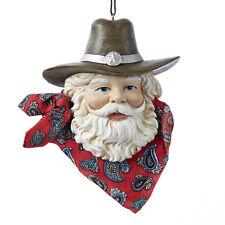 Western Santa Head with Hat & Bandana Ornament