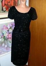 Vintage 60's Black Knit Sequin Wiggle Sheath Dress/Bow Belt/Scoop Neck Small