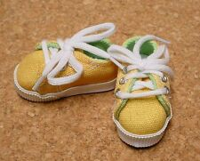 Doll Shoes 63mm YELLOW Sneakers by Monique Gold (with Lt Green accent lining)
