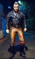 Men's Real Cowhide Waxed Brown Leather Pants Side Lacing Jean Trouser Cuir Biker