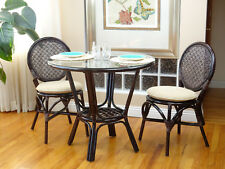 3 Pc Denver Rattan Dining Set Round Table Glass Top+2 Side Chairs. Dark Brown