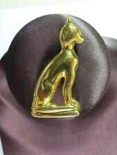 "Egyptian Revival Gold Tone Cat Bastet Brooch 2 1/4"""