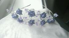 NEW beautiful dark lilac with /crystal s & beads tiara