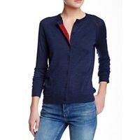Marc by Marc Jacobs Blue Merino Wool Crewneck Cardigan Sweater Red -Sz S