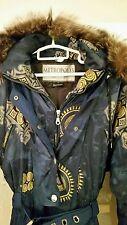 Vtg 90s/80s Women's 8 Couloir Metropolis Ski Suit / Bib, Blue w/ Gold, Fur Trim