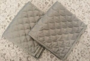 EUC Barbara Barry basic scallop curve Gray Quilted Euro Shams 26x26 set of 2