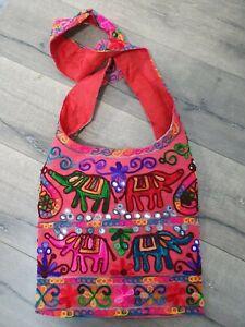 Gringo Fairtrade Pink Elephant Embroidered Shoulder Bag - Twisted Strap