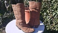 DUNE DISTRESSED LEATHER GRINGO STYLE MID CALF BOOTS.WORN.